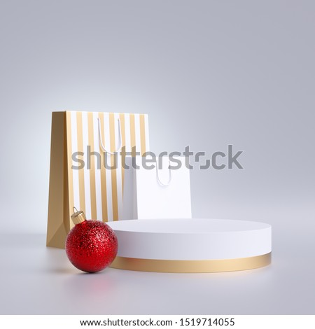 3d Christmas commercial mockup. Shopping bags, round podium and red ball ornament, isolated on white background. Blank pedestal, empty space. Cylinder platform. Product display for advertisement.