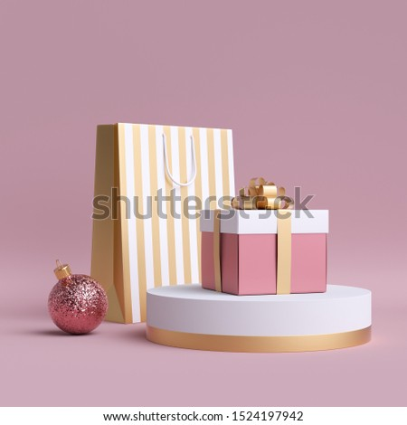 3d Christmas feminine commercial mockup. Shopping bags, round podium, glass ball ornament, wrapped gift box. Clip art isolated on pink background. Cylinder platform. Product display for advertising
