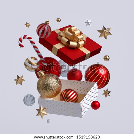 3d Christmas gift box opened, ornaments flying out. Festive clip art isolated on white background. Seasonal winter holiday decor: glass balls, golden stars, candy cane.