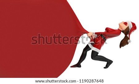 3d christmas people illustration. Woman superhero pulling a huge gift bag. Blank. Isolated white background #1190287648
