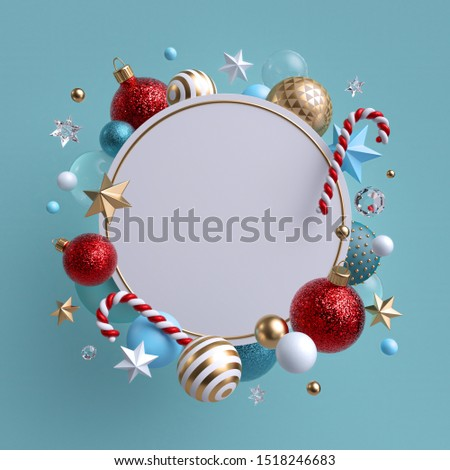 3d Christmas round wreath isolated on blue background. Blank frame decorated with xmas ornaments, glass balls, crystal stars and candy cane.