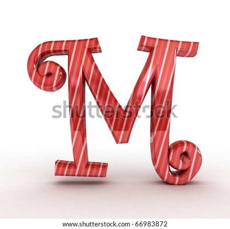 3D Christmas sugar letter isolated
