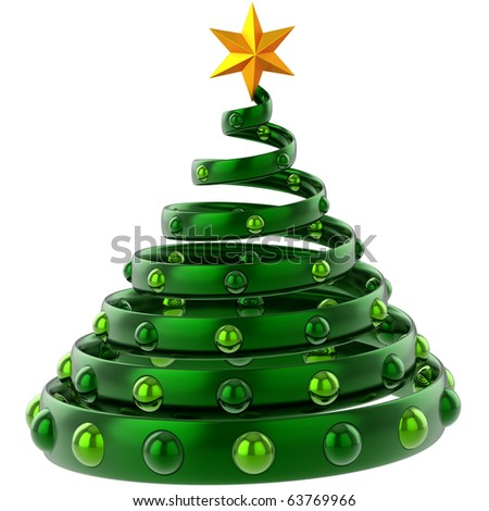 3d Christmas tree abstract green. Happy New Years Eve stylized souvenir. Traditional Xmas greeting card design element. Detailed render. Isolated on white background