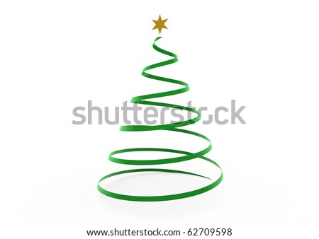 3d christmas tree green gold star isolated on white background