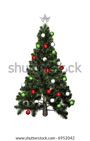 3D Christmas tree isolated on white background