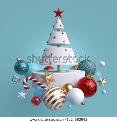 3d Christmas tree ornaments levitating, isolated on blue background. Winter holiday decor: festive glass balls, golden stars, candy cane, snowballs. Greeting card. Composition of levitating objects.