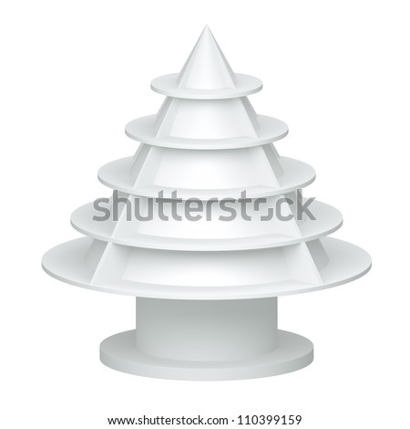 3D Christmas tree shelves and shelf design on a white background. isolated