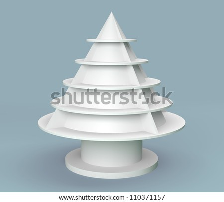 3D Christmas tree shelves and shelf design on background