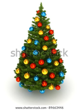 3d Christmas tree white background