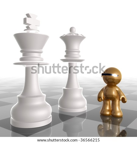 3d chrome gold icon with chess king and queen