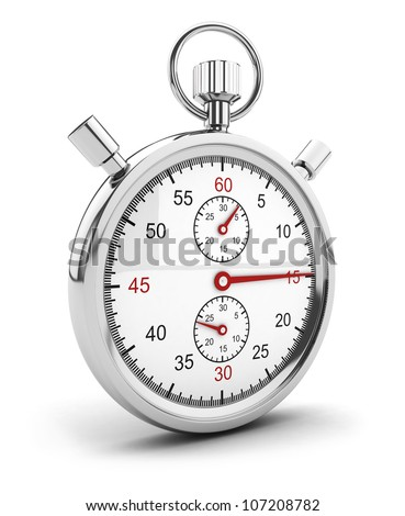 3d chrome stopwatch icon, isolated white background, 3d image