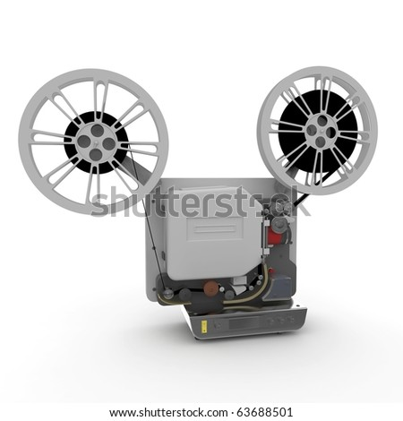 3d cinema film projector isolated on white