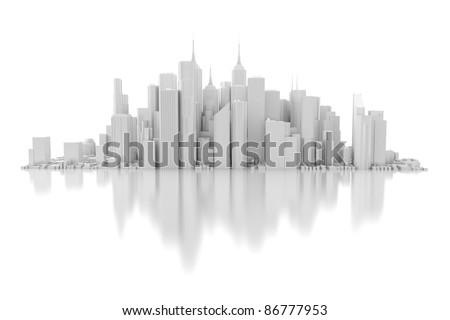 3d city isolated on mirror floor