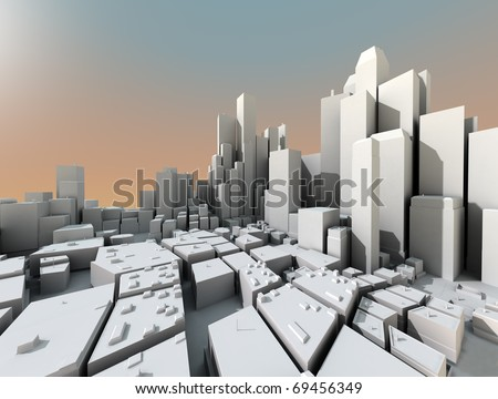 3D city landscape with skyscrapers and sunset light