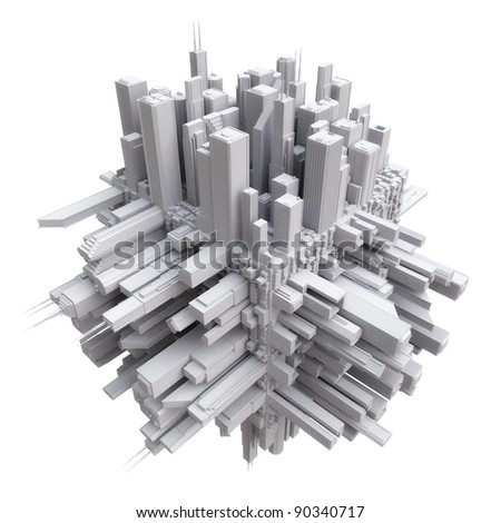 3d city on cube