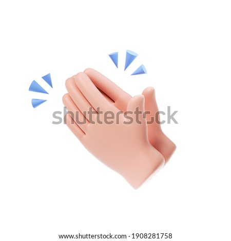3D Clapping Hands icon isolated on white background. hands applauding, agreement and success concept. 3d render illustration
