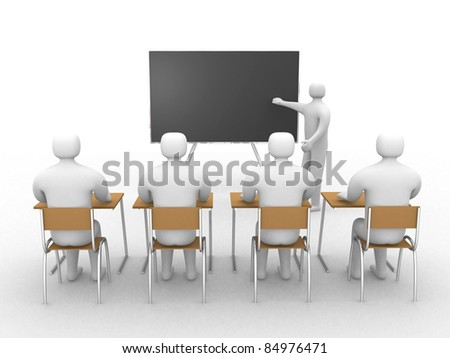 3d classroom with teacher