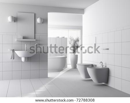 3d clay render of a modern bathroom interior design - stock photo