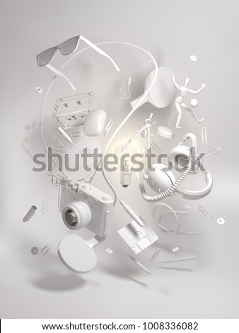 3d clay rendering group objects flying around light bulb. Creativity concept, thinking and get bright idea.  Monochrome elements on white background.