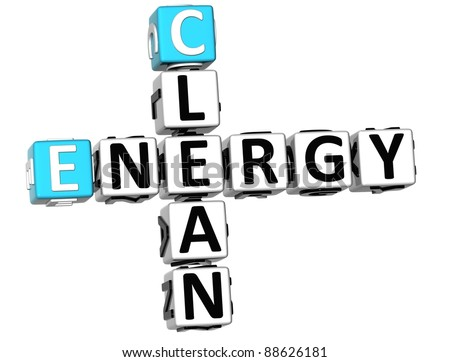 3D Clean Energy Crossword on white background
