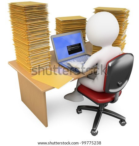 3D Clerk working in the office with much to do. Rendered at high resolution on a white background with diffuse shadows.