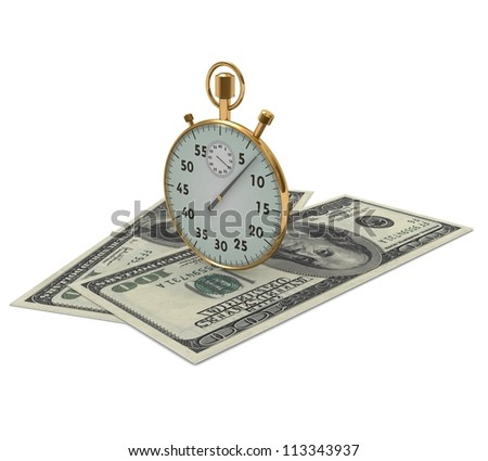 3d clock and dollars on a white background