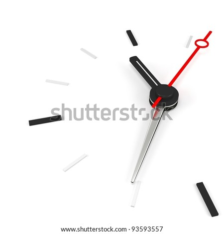 3d clock time concept on white background