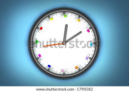 3d clock with pills instead of numbers