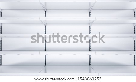 3D close up image of empty shelves with shelf talkers and price tags.
