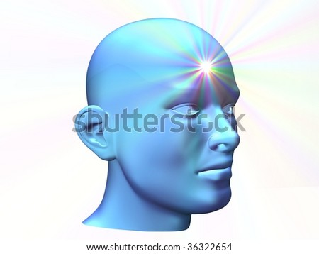 3d close up of a man head with shine on forehead - stock photo