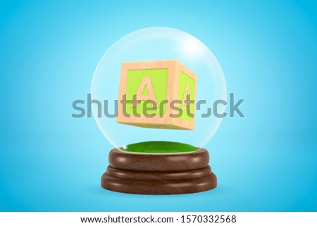 3d close-up rendering of ABC block inside glass ball globe on light-blue background. Education and learning. Learning strategies. Learning tools.