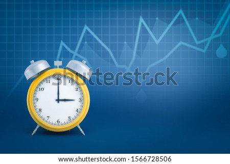 3d close-up rendering of yellow retro alarm clock standing on blue background with line graphs and some copy space. Efficiency and productivity. Time management.