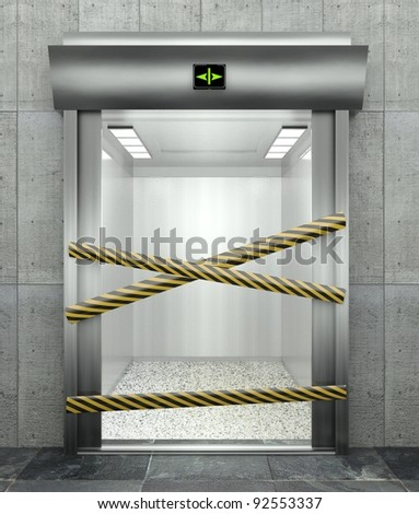 3d closed elevator with open door and caution tape