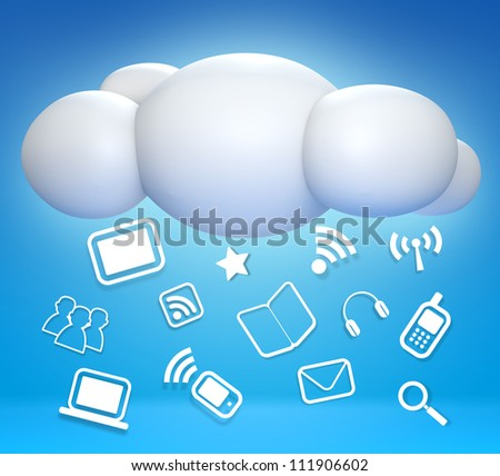 3D cloud and concept communicating on blue sky