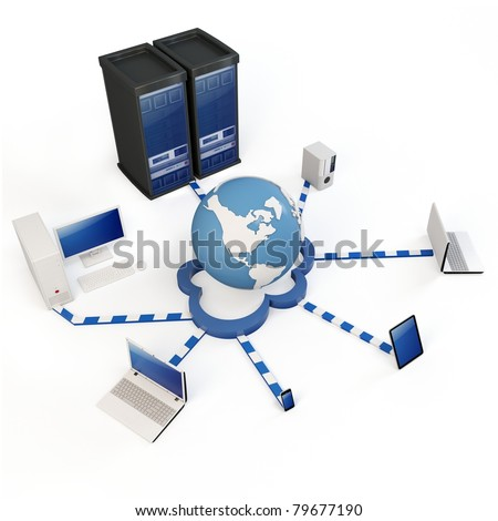 "3d Cloud computing concept. Client computers communicating with resources located in the global ""cloud"""