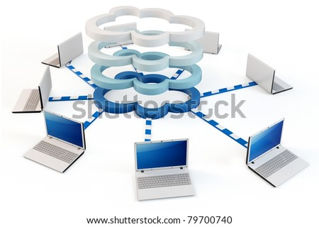 "3d Cloud computing concept. Client computers communicating with resources located in the multi-layer ""cloud"""