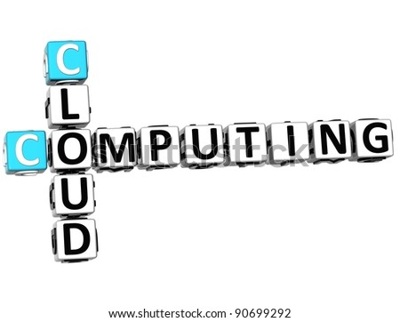 3D Cloud Computing Crossword on white background