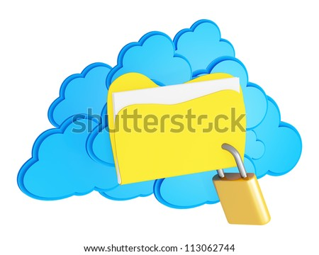 3d cloud computing security concept on a white background