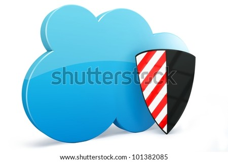 3d cloud computing with security shield on white background