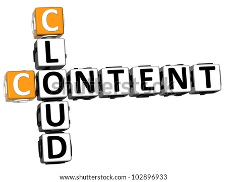 3D Cloud Content Crossword on white background