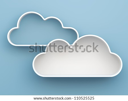 3D Cloud shelves and shelf design on background