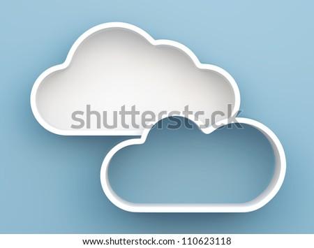 3D Cloud shelves and shelf design on background