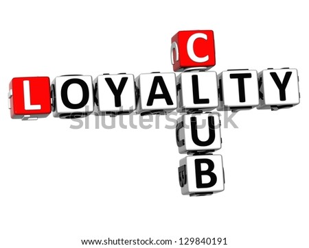 3D Club Loyalty Crossword on white background