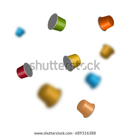 3D coffee capsules flying in the air, multicolored espresso pods. Realistic capsule illustration, different angles, view.
