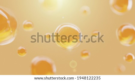 3D Collagen Skin Serum and Vitamin illustration isolated on orange background. concept skin care cosmetics solution. 3d rendering. Сток-фото ©