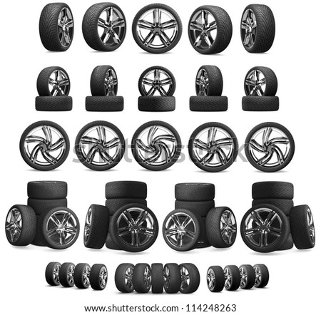 3d collection of car wheels on white background. High resolution of more than 115 mpix