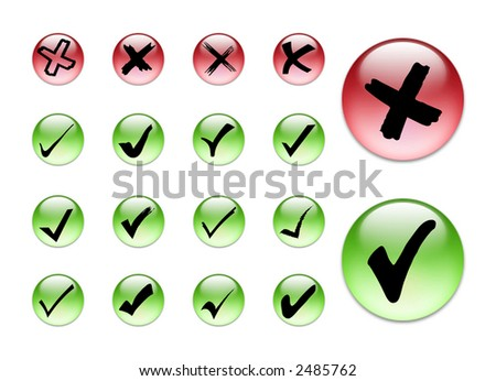 3d collection of check in and x symbol