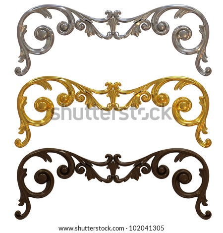 3d collection of metal and ceramic decorations on a white background