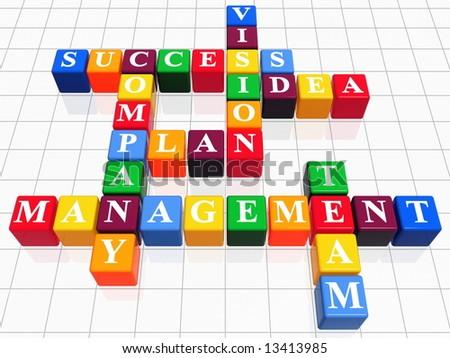 3d color boxes like crossword - success; plan; idea; company; vision; management; team