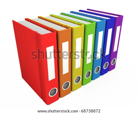 3d color business books on a white background